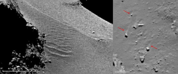 Comet ripples and wind tails. Features in the Hapi region show evidence of local gas-driven transport producing dune-like ripples (left) and boulders with 'wind-tails' (right) – where the boulder has acted as a natural obstacle to the direction of the gas flow, creating a streak of material 'downwind' of it. The images were taken with the OSIRIS narrow-angle camera on 18 September 2014. Image credits: ESA/Rosetta/MPS for OSIRIS Team MPS/UPD/LAM/IAA/SSO/INTA/UPM/DASP/IDA