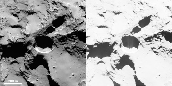 Active pit detected in Seth region of Comet 67P/Churyumov–Gerasimenko. This is an OSIRIS narrow-angle camera image acquired on 28 August 2014 from a distance of 60 km. The image resolution is 1 m/pixel. Enhancing the contrast (right) reveals fine structures in the shadow of the pit, interpreted as jet-like features rising from the pit. Image credits: ESA/Rosetta/MPS for OSIRIS Team MPS/UPD/LAM/IAA/SSO/INTA/UPM/DASP/IDA