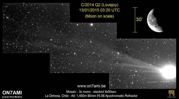 Comet Lovejoy on January 13, 2015 by Jean Paul Mertens in Chile.  He wrote: