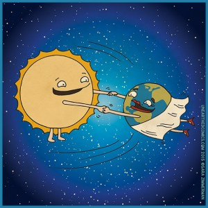 Cartoon by Sara Zimmerman of Unearthed Comics showing Earth in a dance with the sun