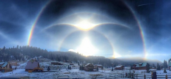 View larger. |  Halo display in Red River, New Mexico January 9, 2015.  Photo by Joshua Thomas.