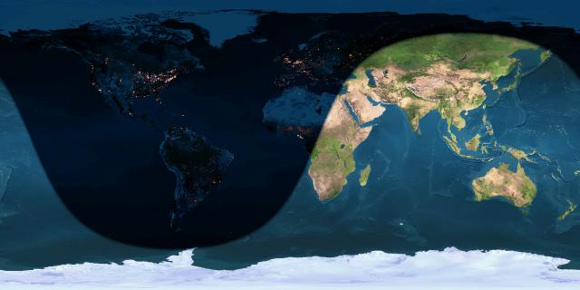Day and night sides of Earth at the instant of the January 2015 full moon (2015 January 5, at 4:53 UTC) Image credit: Earthview