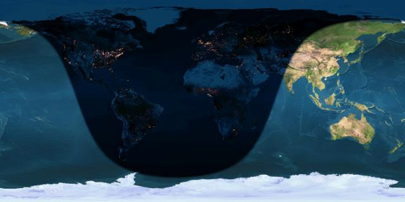 Day and night sides of Earth at the instant of the January 2016 full moon (2016 January 24, at 1:46 Universal Time).