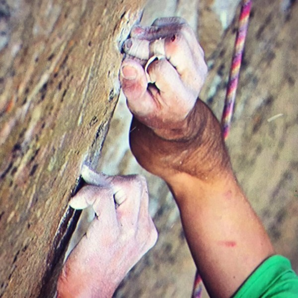 Kevin Jorgeson's hands as he grasped at     Image via Kevin Jorgeson on Facebook.