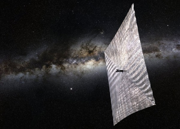 Artist's illustration of Planetary Society's LightSail, set against the backdrop of the Milky Way.