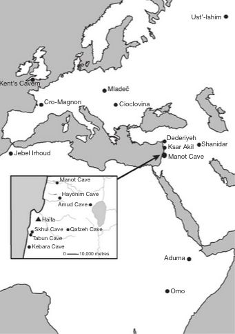 Location of Manot Cave in northern Israel.  Map via Nature.