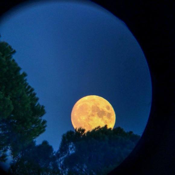The January 4, 2015 rising full moon in Italy, via Osservatorio Astronomico Università di Siena.