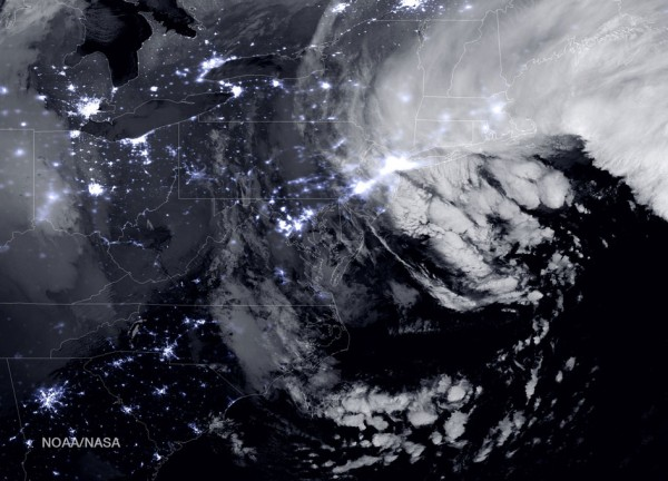 View larger. | A combination of the day-night band and high resolution infrared imagery from the NASA-NOAA's Suomi NPP satellite showed the historic blizzard near peak intensity as it moves over the New York through Boston Metropolitan areas at 06:45Z (1:45 a.m. EST) on January 27, 2015. Credit: NOAA/NASA
