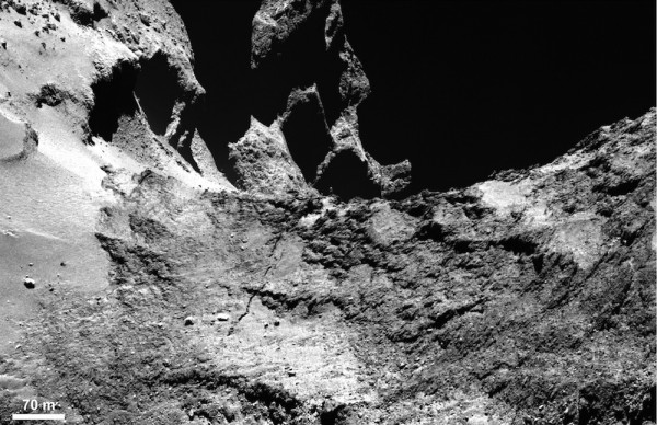 This image from Rosetta's OSIRIS narrow-angle camera shows part of a large fracture in the neck of comet 67P/Churyumov-Gerasimenko.  Image via ESA/Rosetta/MPS for OSIRIS Team.