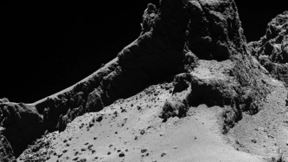 Surface of the comet from 8 km away. Image credit: ESA