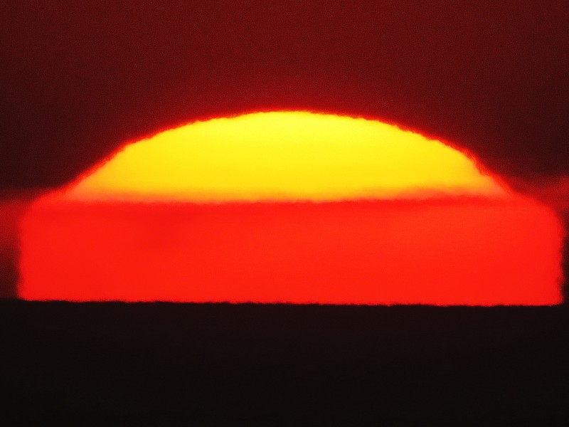 Flattened and semicircle of sun bright yellow on top similar to a sunny-side-up egg.