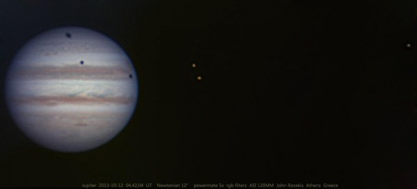 View larger. | This triple transit took place on October 12, 2013.  John Rozakis in Athens, Greece captured it.  Photo used with permission.  Thank you, John!
