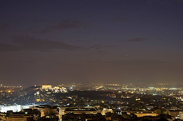 Nikolaos Pantazis in Athens, Greece caught the moon just as it was becoming visible on January 21, 2015 - as it was pulling away from the sunset glare - from Athens, Greece.