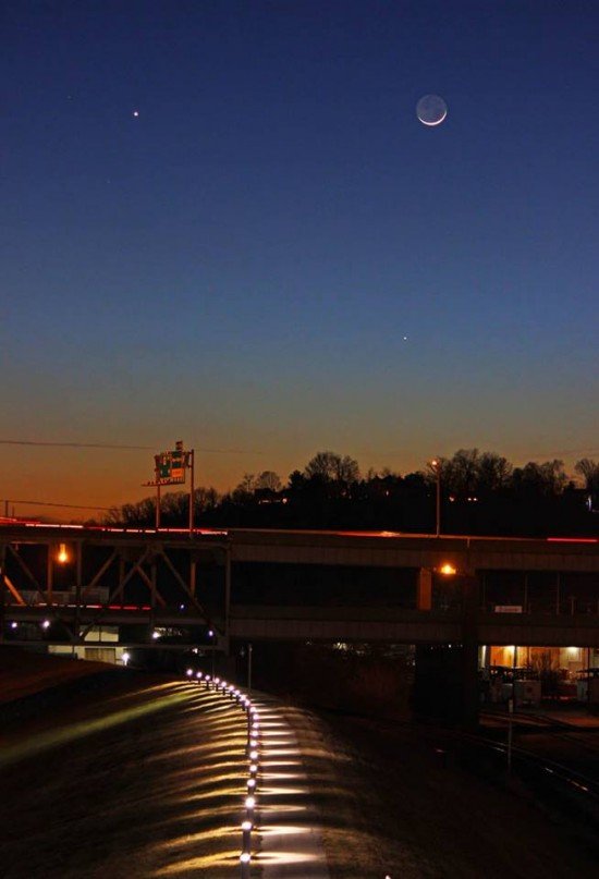 Venus (above), the moon, and Mercury (below) over a lighted walking path on the flood wall in New Albany, Indiana, via EarthSky Facebook friend Duke Marsh.