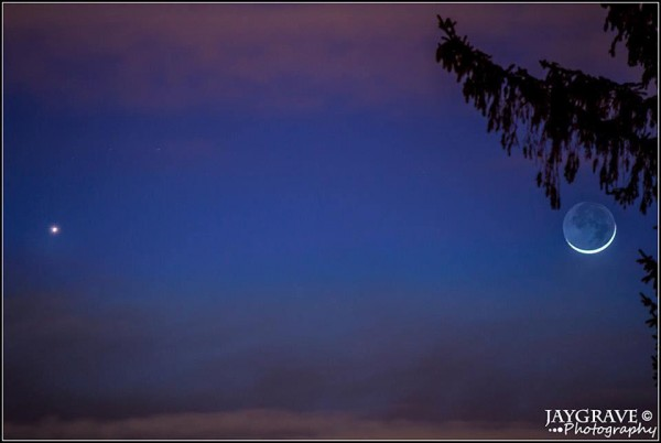 Venus and moon on January 21, 2015 as captured by John Gravell in Everett, Massachusetts.