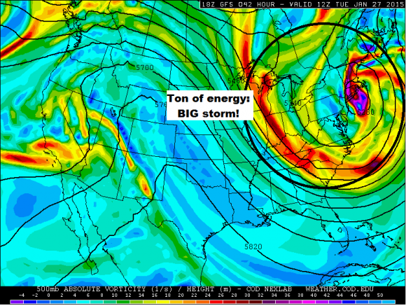 Ton of energy is associated with this storm. Going to be nasty all along the Northeast Tuesday. Image Credit: COD Weather