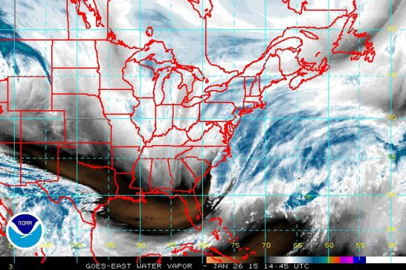 Water Vapor imagery showing the storm forming along the East Coast. Image Credit: NOAA
