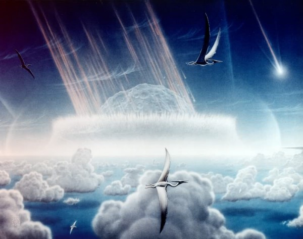 This painting by Donald E. Davis depicts an asteroid slamming into tropical, shallow seas of the sulfur-rich Yucatan Peninsula in what is today southeast Mexico. The aftermath of this immense asteroid collision, which occurred approximately 65 million years ago, is believed to have caused the extinction of the dinosaurs and many other species on Earth.