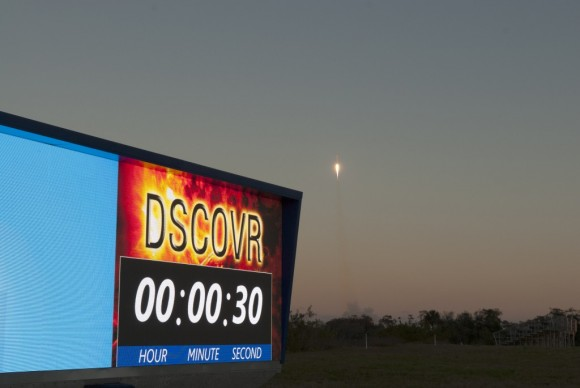DSCOVR launch over countdown clock. Photo credit: NASA/Frankie Martin