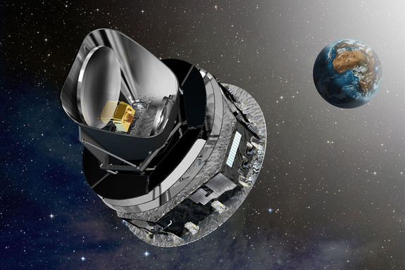 The European Space Agency's Planck space telescope was launched in 2009. During its four-year mission, it observed variations in the cosmic microwave background across the entire sky. The first all-sky map was released in March 2013 and the second, more detailed, map was released in February 2015. The mission's successes include determining that the universe is slightly older than thought; mapping the early universe's subtle fluctuations in temperature and polarization, which eventually gave rise to the structure we see today; and confirming that 26 percent of the universe comprises dark matter.   Image via ESA