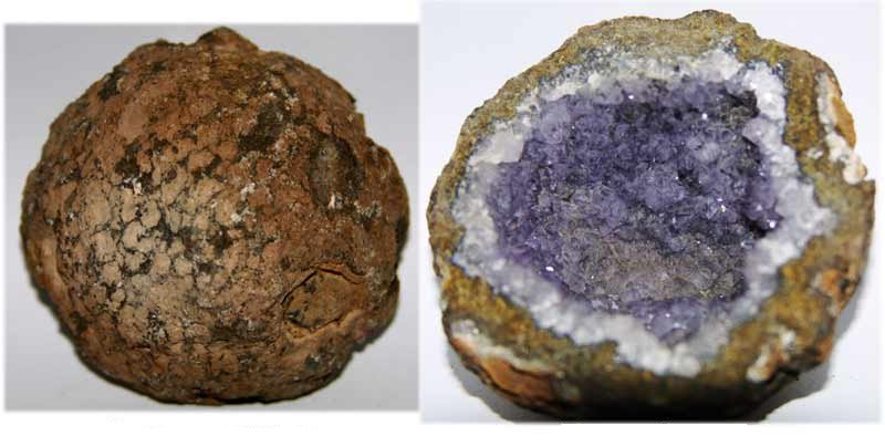 Round rock broken open to reveal lining of purple crystals.