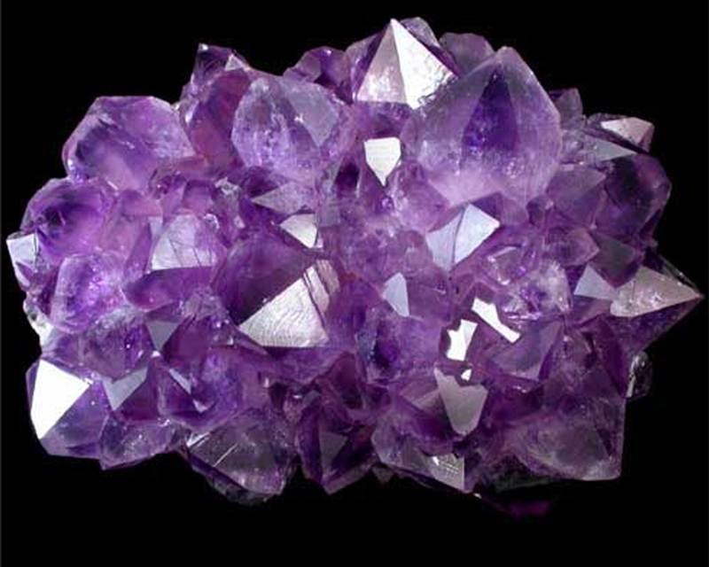 A cluster of shining, pointy purple crystals.