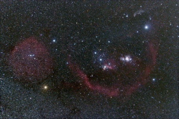 View larger. | Orion Molecular Cloud Complex -  a large group of bright nebulae, dark clouds, and young stars located in the constellation of Orion - as captured by Max Corneau in Texas.  Thank you, Max!