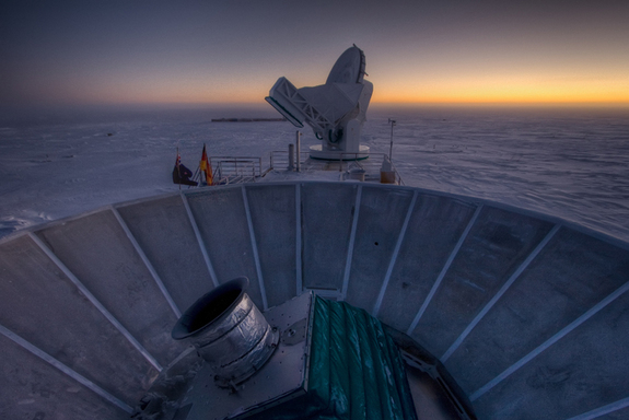 The Background Imaging of Cosmic Extragalactic Polarization 2 (BICEP2) experiment, shown here in the foreground, studies the cosmic microwave background from the South Pole, where cold, dry air allows for clear observations of the sky. In March 2014, the BICEP2 team announced that they had seen evidence of gravitational waves, offering what seemed to be