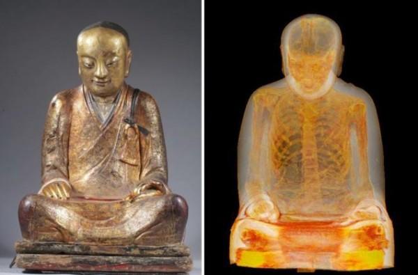 Buddhist statue with mummy inside