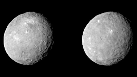 These two views of Ceres were acquired by NASA's Dawn spacecraft on Feb. 12, 2015, from a distance of about 52,000 miles (83,000 kilometers) as the dwarf planet rotated. Image credit: NASA/JPL-Caltech/UCLA/MPS/DLR/IDA