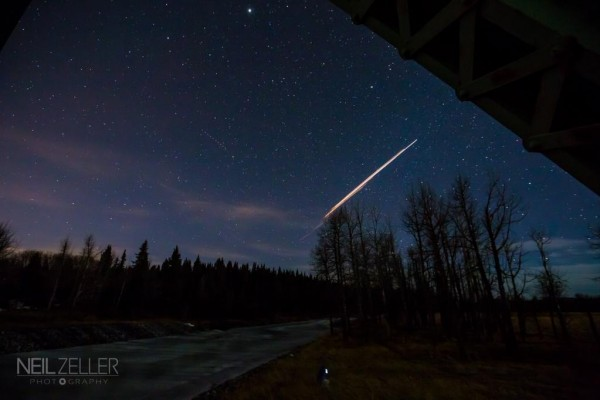 Professional photographer Neil Zeller caught the Chinese rocket body breakup from Calgary.  Visit Neil Zeller's website.