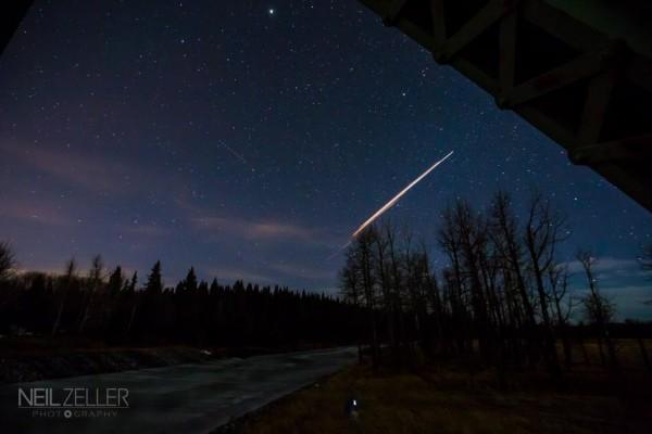 Professional photographer Neil Zeller caught the Chinese rocket body breakup from Calgary.  Visit Neil Zeller's website.