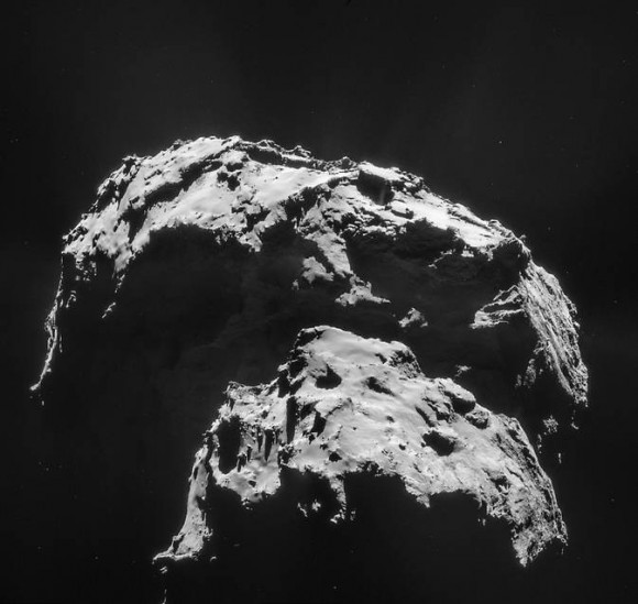 Comet 67P/Churyumov-Gerasimenko is seen here in an image captured by the Rosetta spacecraft. The mission's Philae lander hit the surface with a big bounce, demonstrating the comet's surface is hard. Image credit: ESA/Rosetta/NAVCAM