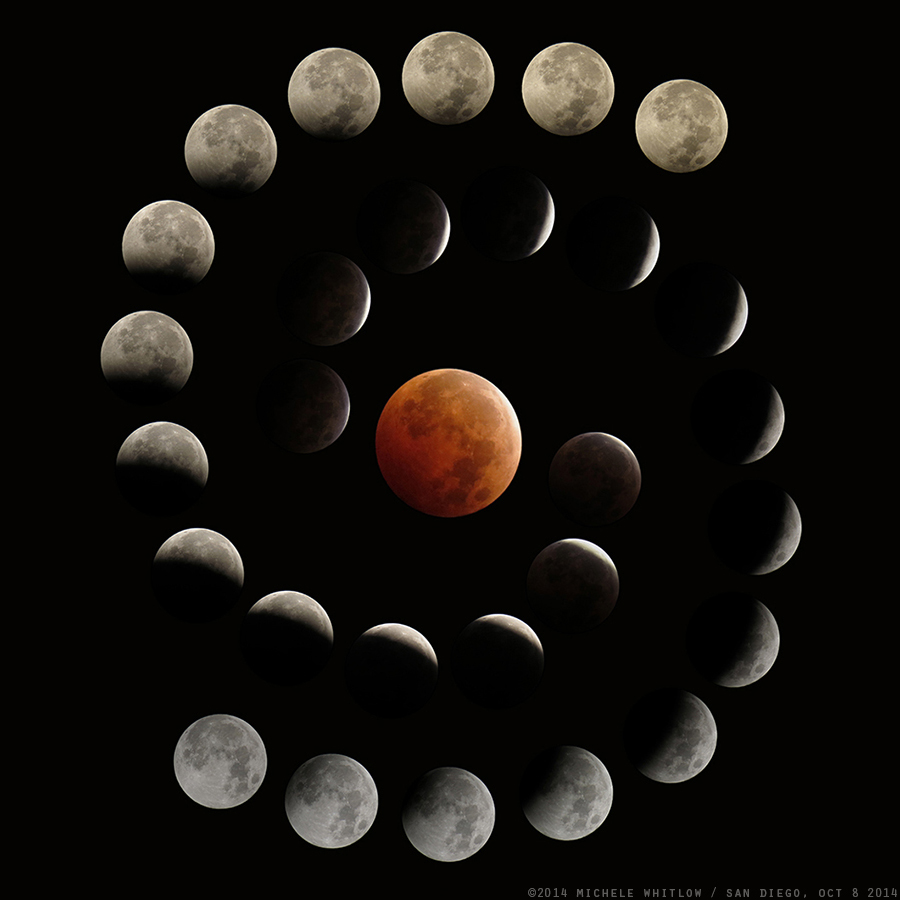 October 8, 2014 lunar eclipse composite by Michele Whitlow.