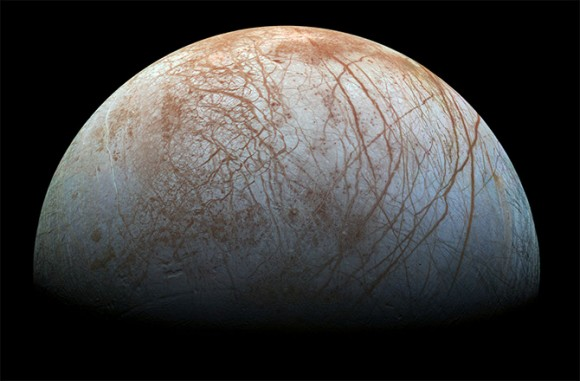 A composite of Europa made from images from the Galileo spacecraft, which orbited in the jovian system for eight years, beginning in 1995.  Image via NASA/JPL