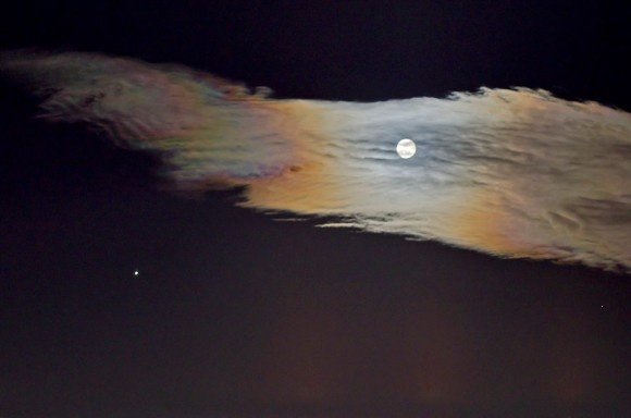 The moon with Jupiter and iridescent clouds, Shot in Greece, by Nikolaos Pantazis?