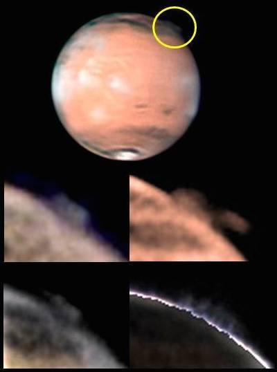 The top image shows the location of the mysterious plume on Mars, identified within the yellow circle (top image, south is up), along with different views of the changing plume morphology taken by W. Jaeschke and D. Parker on 21 March 21 2012.