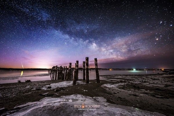 View larger. | A bright meteor, or fireball, at Sandy Point, Maine by Mike Taylor Photo