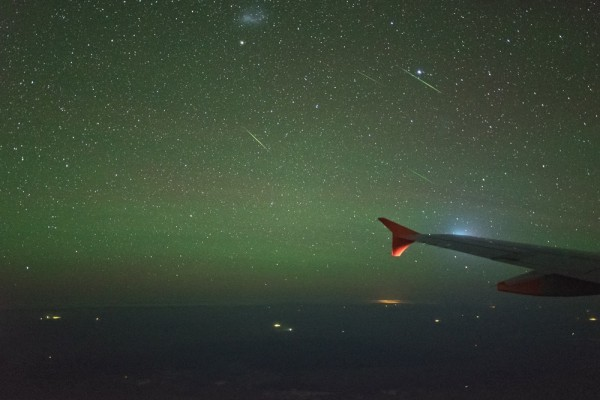 View larger. | Alpha Centaurid Meteor Shower @ 40,000 ft by Colin Legg Photography