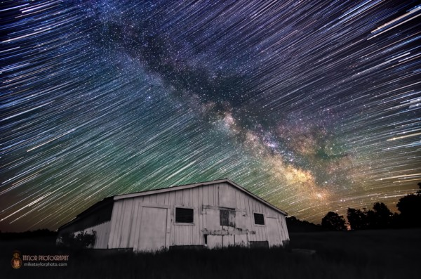 A time-lapse photo showing the Milky Way by Mike Taylor Photography.