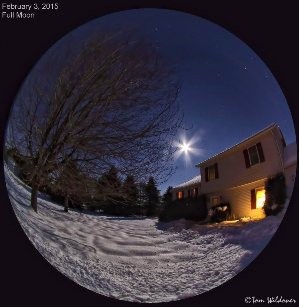 One of our favorite sky photographers, Tom Wildoner, tried out his new fisheye lens on the February 3 moon and Jupiter.  Cool, Tom!