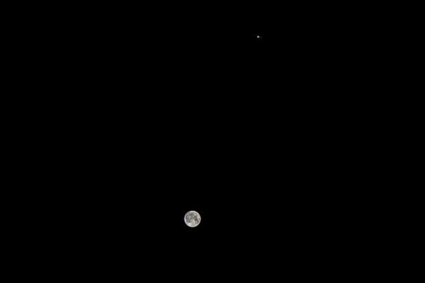 Dave Walker in the UK contributed this photo of the February 3-4 moon and Jupiter.  View larger, and you can see some of Jupiter's moons.