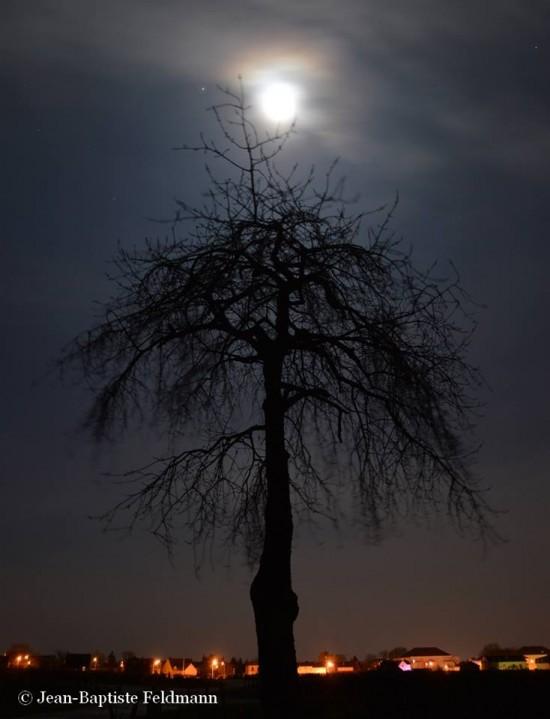 Full moon and Jupiter on February 3, as captured by Jean-Baptiste Feldmann in France.