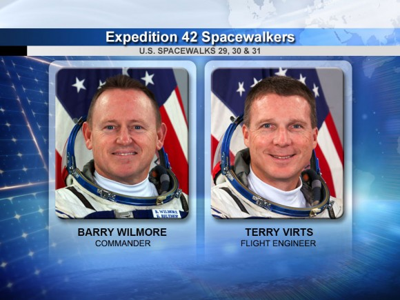 Expedition 42 spacewalkers Barry Wilmore and Terry Virts. Credit: NASA
