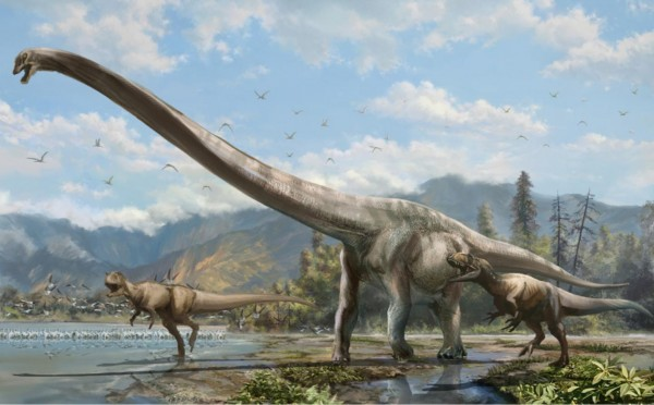 Artist's concept of newly discovered long-necked dinosaur, called Qijianglong.  Credit: Xing Lida