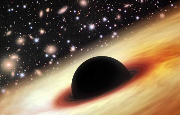 Artist's impression of a quasar with a supermassive black hole in the distant and early universe.  Image via Zhaoyu Li/NASA/JPL-Caltech/Misti Mountain Observatory.