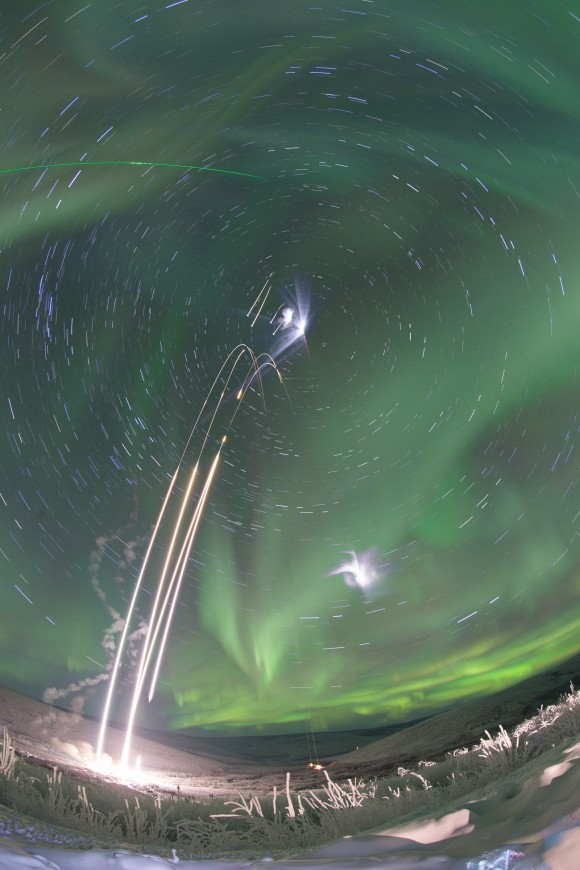 A composite shot of all four rockets for the M-TeX and MIST experiments is made up of 30 second exposures. The rocket salvo began at 4:13 a.m. EST, January 26, 2015, from the Poker Flat Research Range, Alaska. Image Credit: NASA/Jamie Adkins