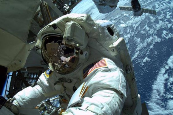 Spacewalk trilogy complete! NASA astronauts Terry Virts and Barry Wilmore (seen in this photo) ended their International Space Station spacewalk at 12:30 p.m. EST on Sunday, March 1, 2015. Image credit: NASA
