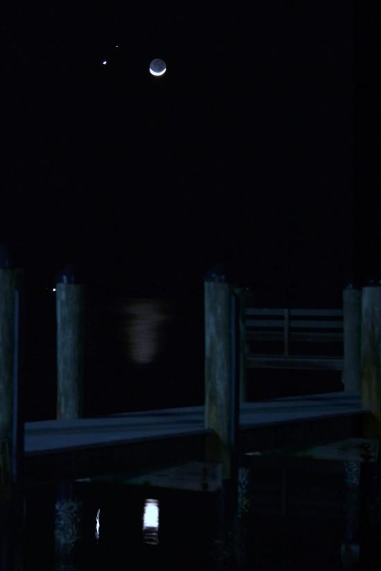 KKing in Englewood, Florida caught the planets and moon, with a reflection.
