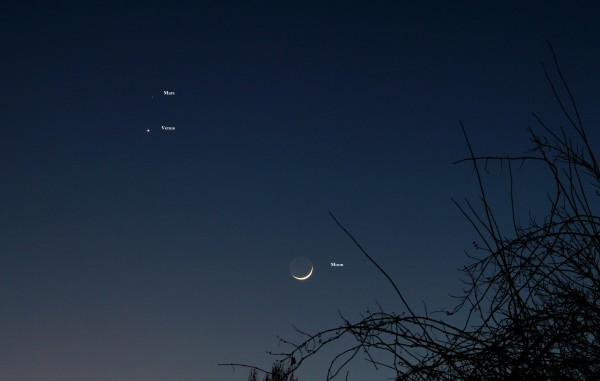 Geza Bakonyl caught the planets and moon from Hungary